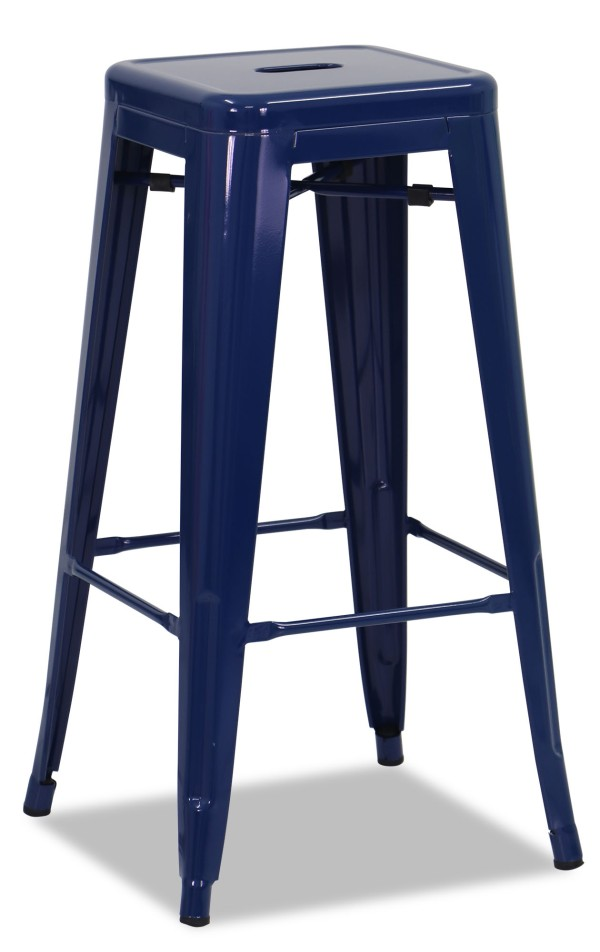 Retro Metal High Stool Blue