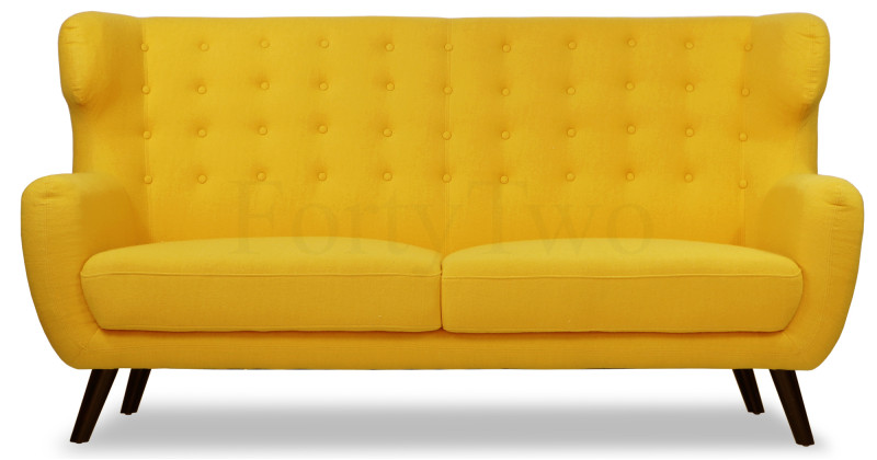 Replica wingback designer 3 seater sofa in yellow for Design sofa replica