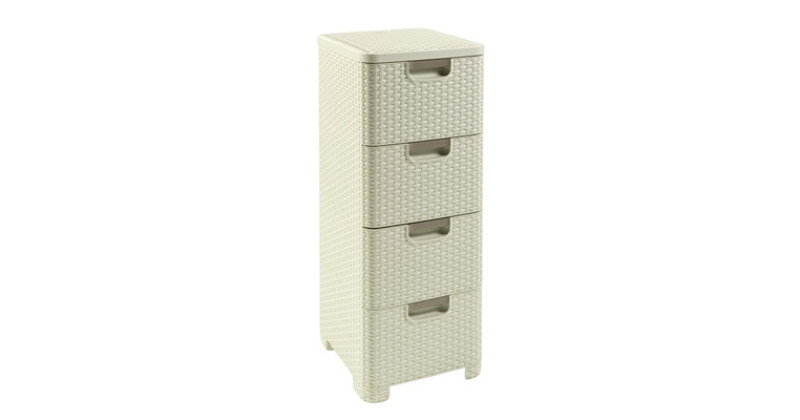 Keter Rattan Style 3 Drawer Cart.Curver Rattan Style 4 Drawer Off White Furniture Home Decor