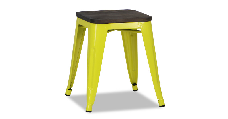 Retro Metal Regular Stool With Wooden Seat In Yellow