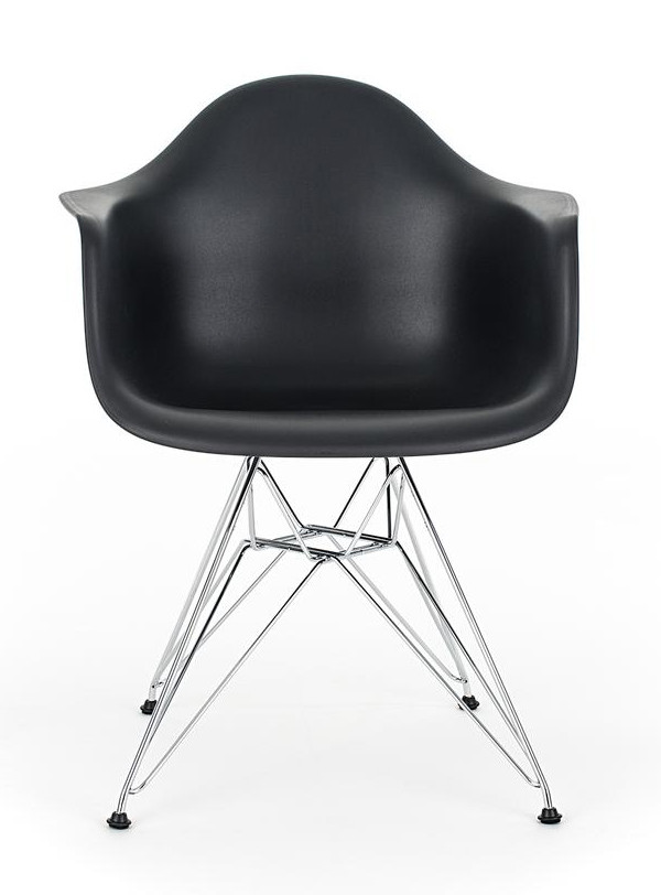 Eames black replica designer arm chair with steel eiffel for Replica designer furniture