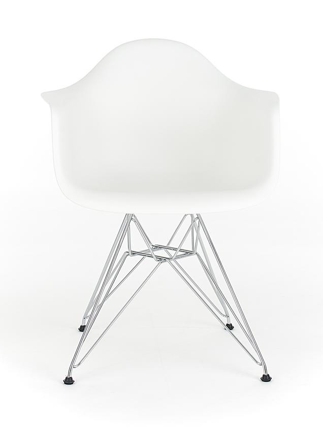 Eames White Replica Designer Arm Chair With Steel Eiffel Legs