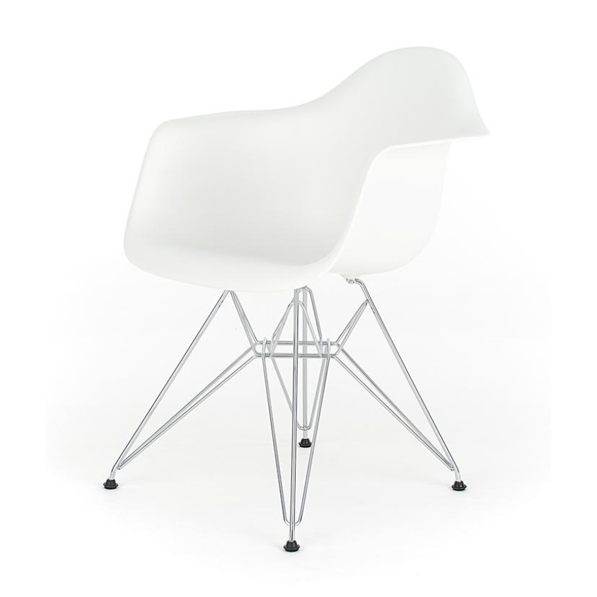Eames White Replica Designer Arm Chair With Steel Eiffel Legs Furniture Am