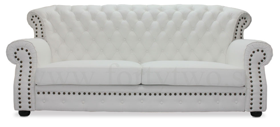 Tydus Strusso Classical 3 Seater Half Leather Sofa In White