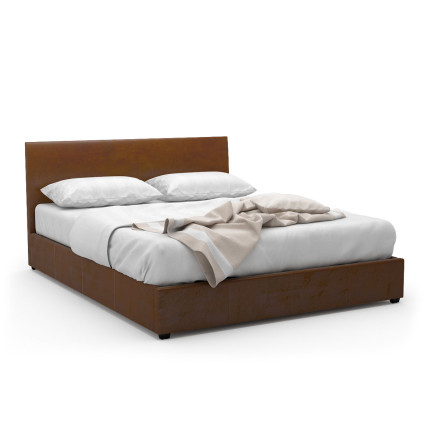 Foster Queen-Sized Storage Bed (PU Camel Brown)