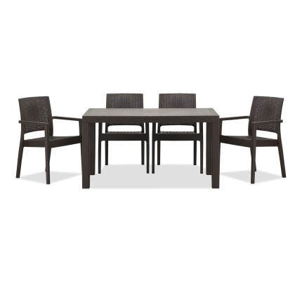 Landon Outdoor Dining Set In Coffee 1 6