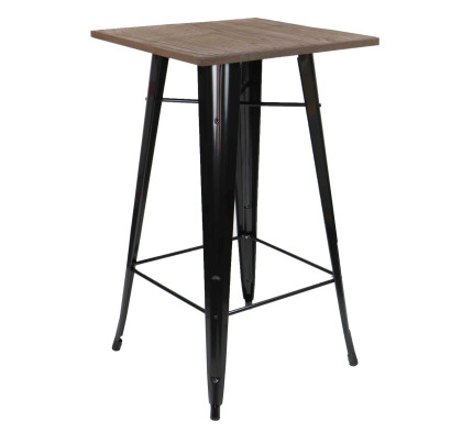 Loft Style Bar Table With Wood Top In Black