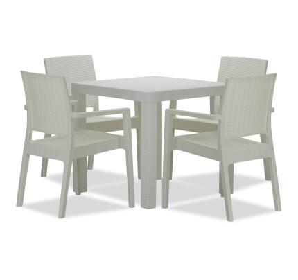 Landon Outdoor Dining Set In White 1 4