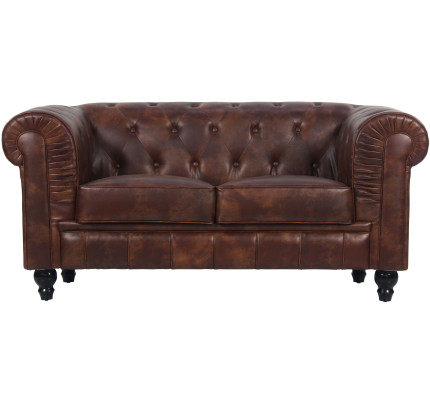 Benjamin Clical 2 Seater Old Pu Leather In Brown