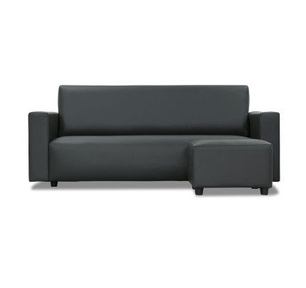 b6964977b Adam 3 Seater Faux Leather Sofa with Stool