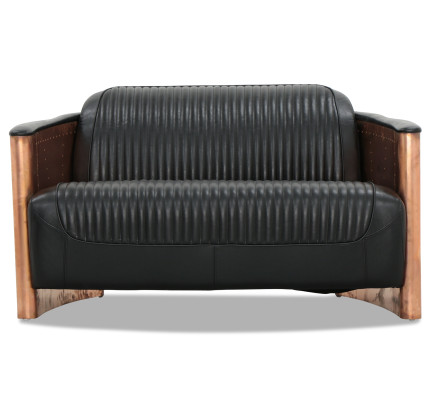 Designer Replica 2 Seater Aviator Sofa in Black PU Leather with Copper Gold