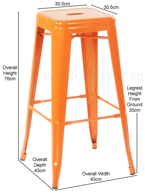 Retro Metal High Stool Orange Bar Stools Living Room  : horg23 from www.fortytwo.sg size 500 x 664 jpeg 60kB