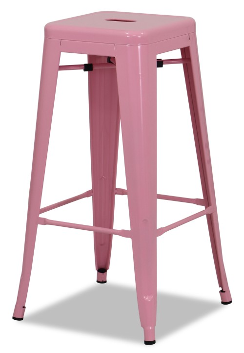 Retro Metal High Stool Light Pink Bar Stools Living