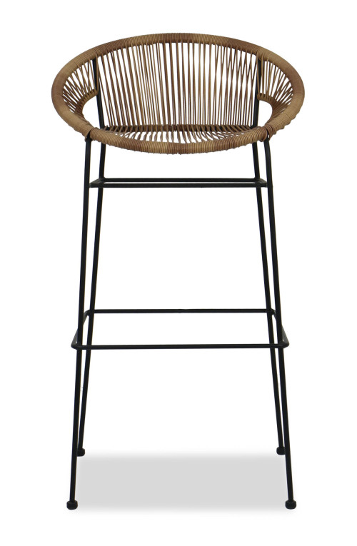 Elliot Wicker Bar Chair (Brown)