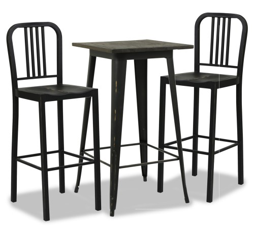 Loft Style Bar Table in Antique Black Dining Set (1+2)