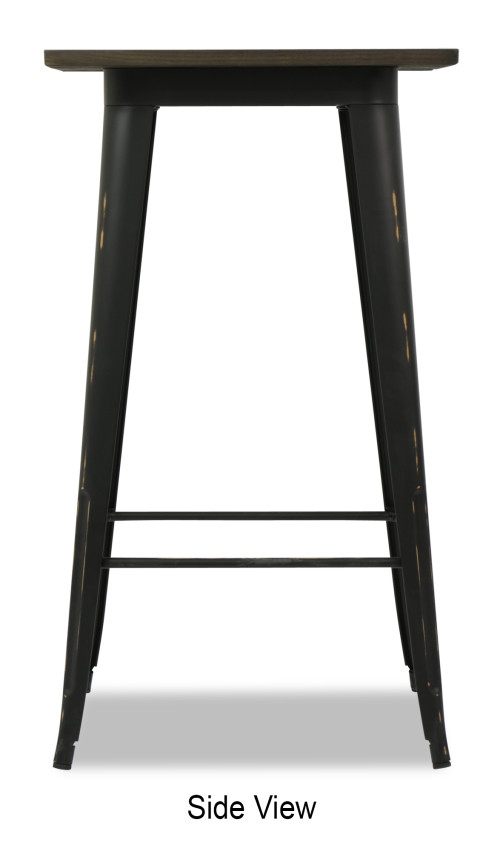 Loft Style Bar Table With Wood Top In Antique Black Furniture Home D Cor Fortytwo