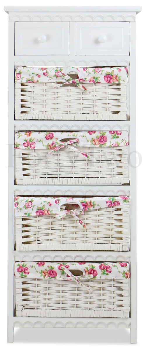 Savannah Wicker Basket Wooden Cabinet