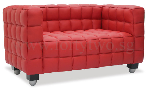 Berdina Verve 2 Seater Pu Leather Sofa In Red Furniture Home D Cor Fortytwo