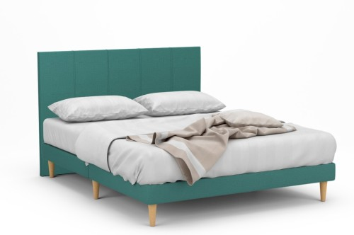 Dane II Fabric Bed Frame With Tall Beech Legs