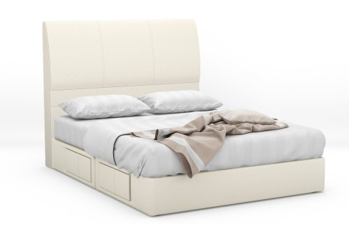 Santrax Faux Leather Drawer Bed Frame