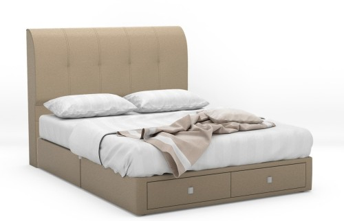 Kirk Faux Leather Drawer Bed Frame