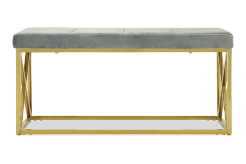 Opal Bench II in Gold Legs (Velvet Grey)