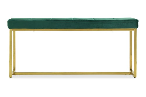 Opal Bench in Gold Legs (Velvet Green)