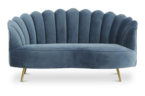 Alfie 2 Seater Velvet Sofa in Blue