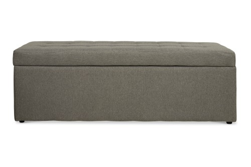 Carissa Storage Bench Fabric Grey (Long)