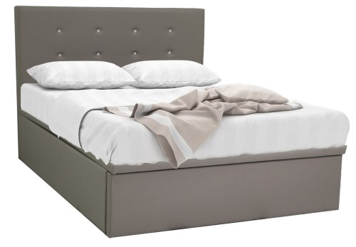 RayLight Faux Leather Storage Bed