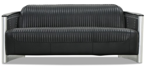 Aviator Replica 3 Seater Sofa Black PU Leather (Aluminium Silver)