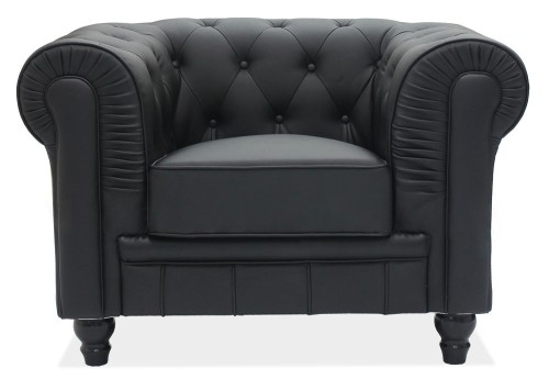 Benjamin Classical 1 Seater PU Leather Arm Chair (Black)