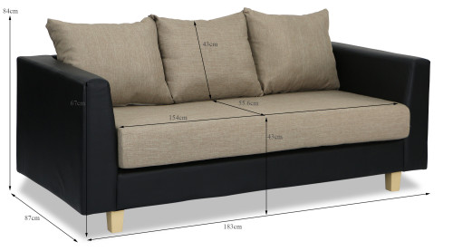 Briget 3 seater sofa black furniture home d cor fortytwo for Small sofa singapore