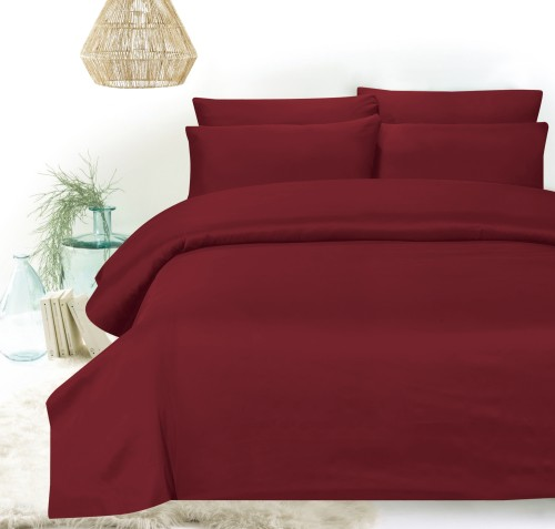 Hillcrest - Comfylux Solid 900TC Fitted Sheet Set - Ruby Wine