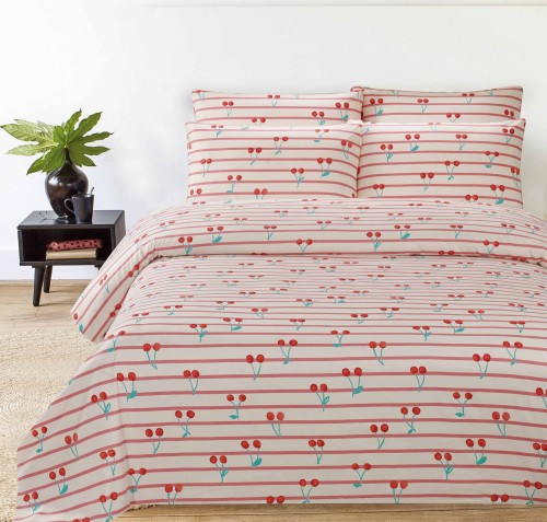 Hillcrest - Comfylux Print 900TC Fitted Sheet Set - Cherzy