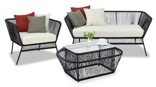 Black Spinel Patio 3 Seater Set