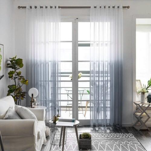 Kegan Sheer Gradient Grommet Curtains (Grey)