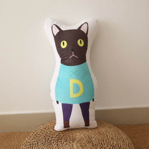 Kids Black Cat Cushion