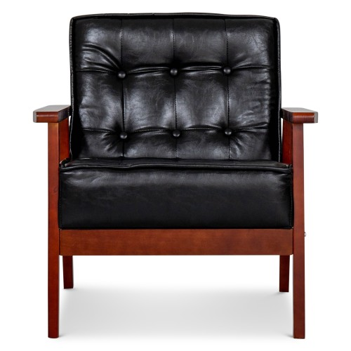 Hans 1 Seater Sofa (PU Black)