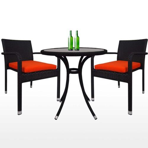 Balcony 2 Chair Bistro Set, Orange Cushion