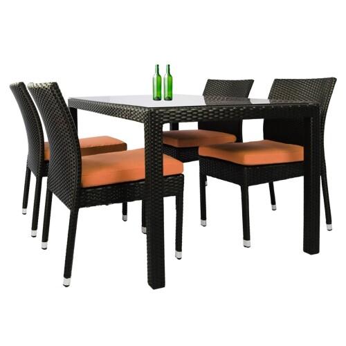 Casa 4 Chair Dining Set Orange Cushion