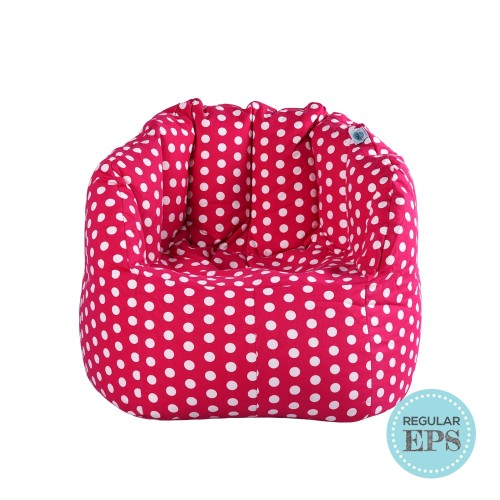Chilla Fabric Bean Bag Chair (Pink with Polka Dots, Regular EPS beans filling)