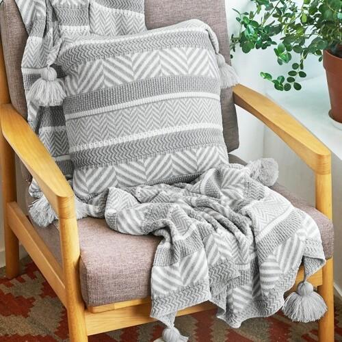 Vora Tribal Print Cushion (Grey)