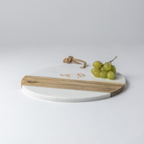 Eryka Round Marble & Acacia Serving Board