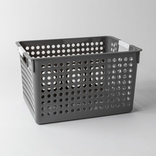 Torie Deep Storage Basket W/ Round Holes L (Grey)