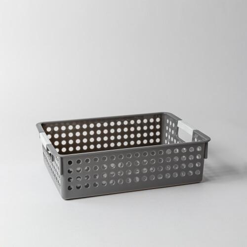 Torie Shallow Storage Basket W/ Round Holes (Grey)