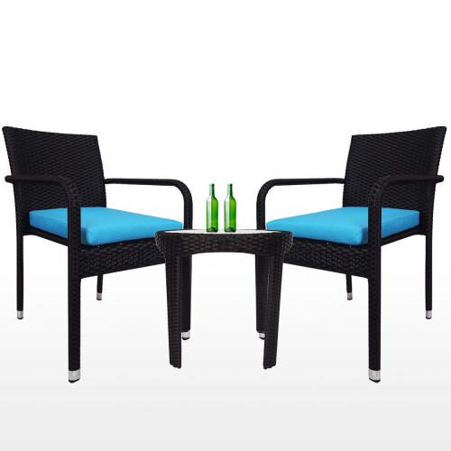 Jardin 2 chair Patio Set, Blue Cushion