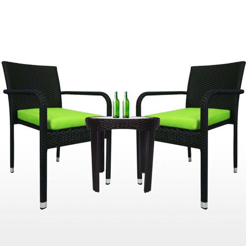 Jardin 2 chair Patio Set, Green Cushion
