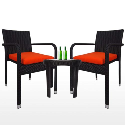 Jardin 2 chair Patio Set, Orange Cushion