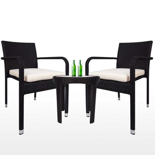 Jardin 2 chair Patio Set, White Cushion